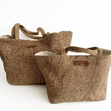 BASKETBAG SMALL PALMLEAVES/LINEN  LIZZLE MIX NATURAL_