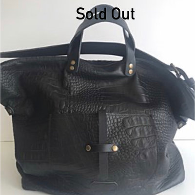 SHOPPER LINN CROCO PRINT BLACK