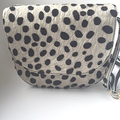 SADDLE BAG NANNE LARGE FURRY DALMATIAN PRINT