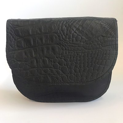 SADDLE BAG LINN SMALL CROCO PRINT BLACK