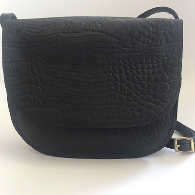 SADDLE BAG LINN LARGE CROCO PRINT BLACK