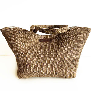 BASKETBAG SMALL PALMLEAVES/LINEN  LIZZLE MIX NATURAL