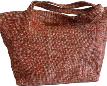BASKETBAG PALMLEAVES/LINEN  LIAH BRIQUE